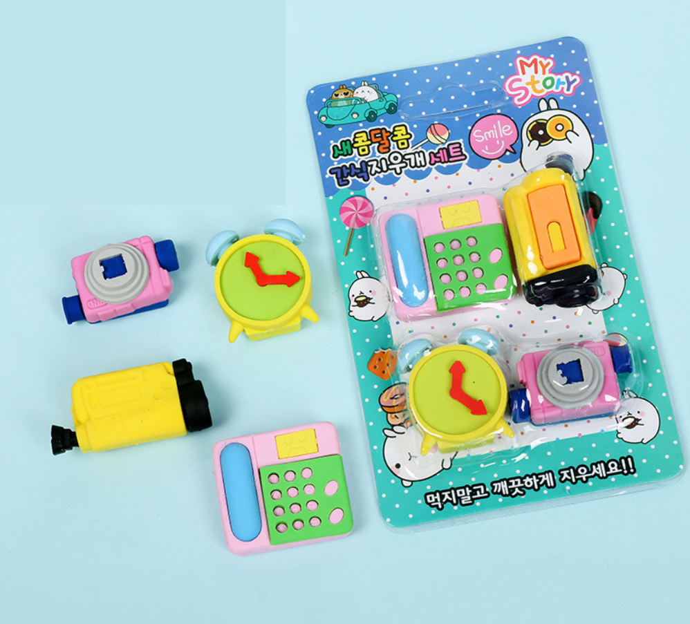 Eraser Set TPR Rubber Cute Telephone Projector Clock Camera Bowling Pencil Erasers Stationery Kids Gifts School Supplies Prize