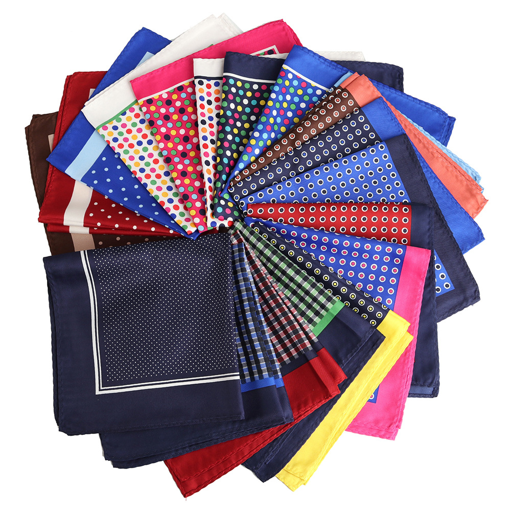 YISHLINE NEW 32cm Unisex Handkerchief Paisley Floral Plaids Prints Soft Thin Pocket Square For Men Women Party Accessories