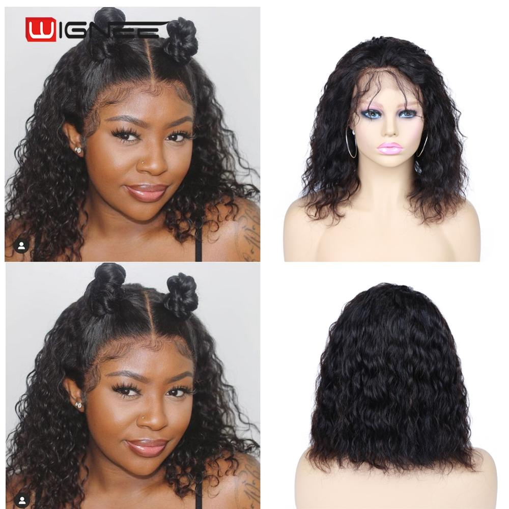 Wignee Lace Front Natural Wave Short Human Hair Wigs With Baby Hair For Black Women 150% High Density Brazilian Lace Human Wigs
