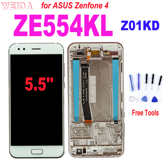 Color : White Black Mobile Phone LCD Screen Replacement LCD Screen and Digitizer Full Assembly with Frame for Asus ZenFone 4 ZE554KL Z01KDA Z01KD Z01KS