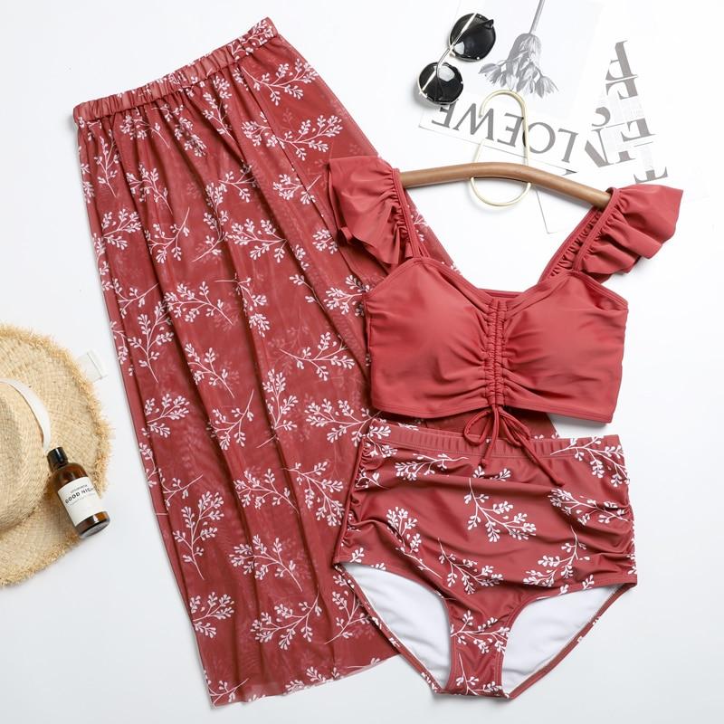 Korean Tankini srt Swimming Suit for Women Print Bikinis Three Piece Holiday Split Swimsuit Female Hot Spring Bathing Suit on Aliexpress.com | Alibaba Group