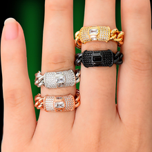 GODKI Bold Stackable Ring Luxury Chunky Chain Rings for Women Wedding Cubic Zircon Bridal Engagement Wedding Dubai Finger Rings