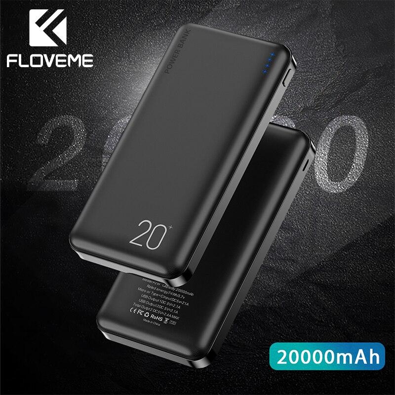 FLOVEME Banco do Poder 20000mAh Carregador Portátil USB Duplo Bateria Externa Powerbank Para Xiao mi mi Poverbank Bateria Externa Movil