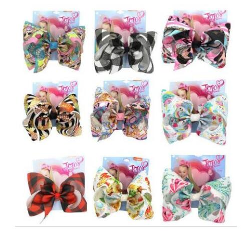 8 Inch Bowknot Hair Clip Cartoon Print Unicorn Hair Bows For Girls With Clips Butterfly-tie Handmade Headwear Hair Accessory 8PC