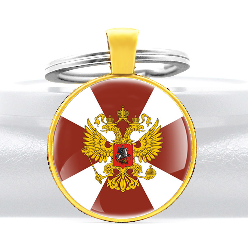 Russian National Guard Design Glass Cabochon Metal Pendant Key Chain Charm Men Women Key Ring  Jewelry Gifts Keychains
