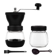 BEAU-Manual Coffee Grinder with Ceramic Burrs,Portable Hand Adjustable Coffee Mill with Two Glass Jars,Silicone Dust-Proof Cover(China)