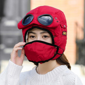 Image 4 - Adult Kids Fleece Earmuffs Hat Skiing Hat Snowboard Riding Motorcycle Men Cycling Bomber Hat with Glasses Windproof Mask