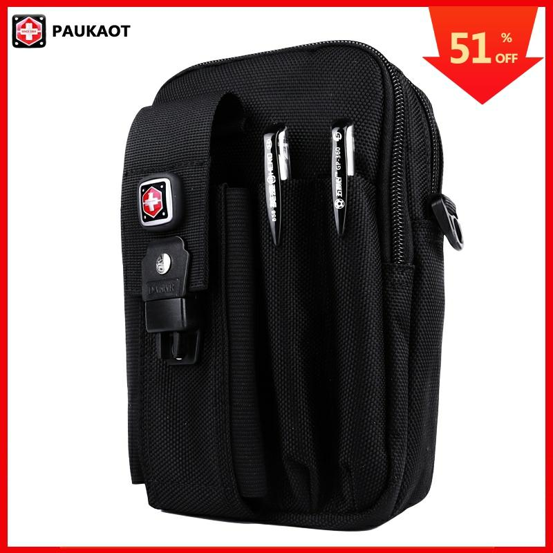 PAUKAOT Multifunctional Belt Bag Travel Fanny Waist Packs Mobile Phone Pouch Oxford 1680D For Men Bum Bag Male Small Pockets