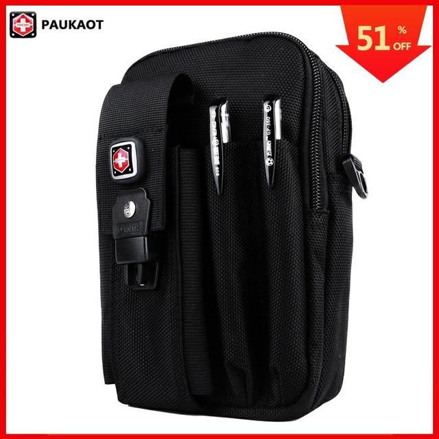 PAUKAOT Multifunctional Belt Bag Travel Fanny Waist Packs Mobile Phone Pouch Oxford 1680D For Men Bum Bag Male Small Pockets