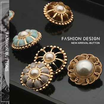 Fabric Pearl Craft Decorative Buttons for Crafts Clothing Button Needlework Sewing Supplies Metal Gold Botones Flower 25mm 3pcs high grade metal gold silver imitation pearl buttons jacket shirt metal buttons sweater coat overcoat button