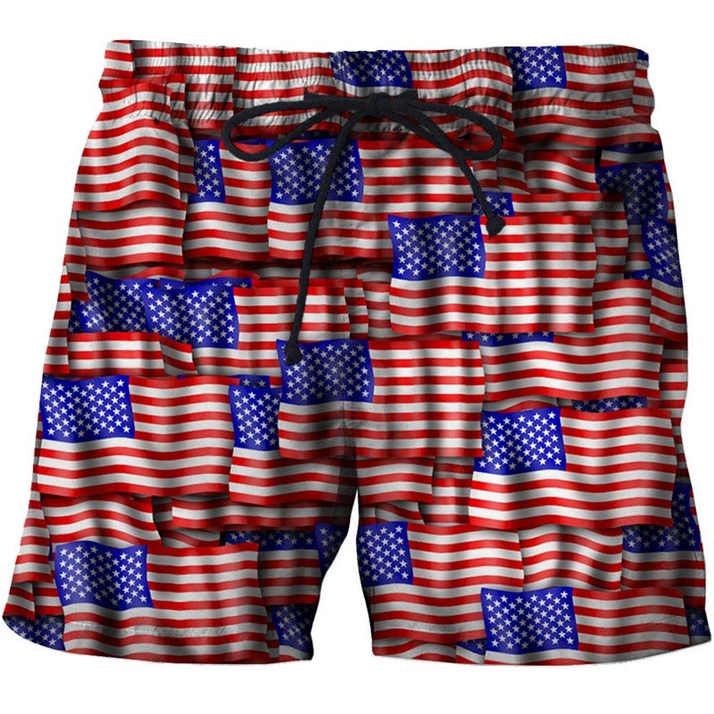 New USA 3D Summer Surfing Shorts Men America Printed Beach Shorts For Male Sport Swiming  Shorts Homme Drop Ship