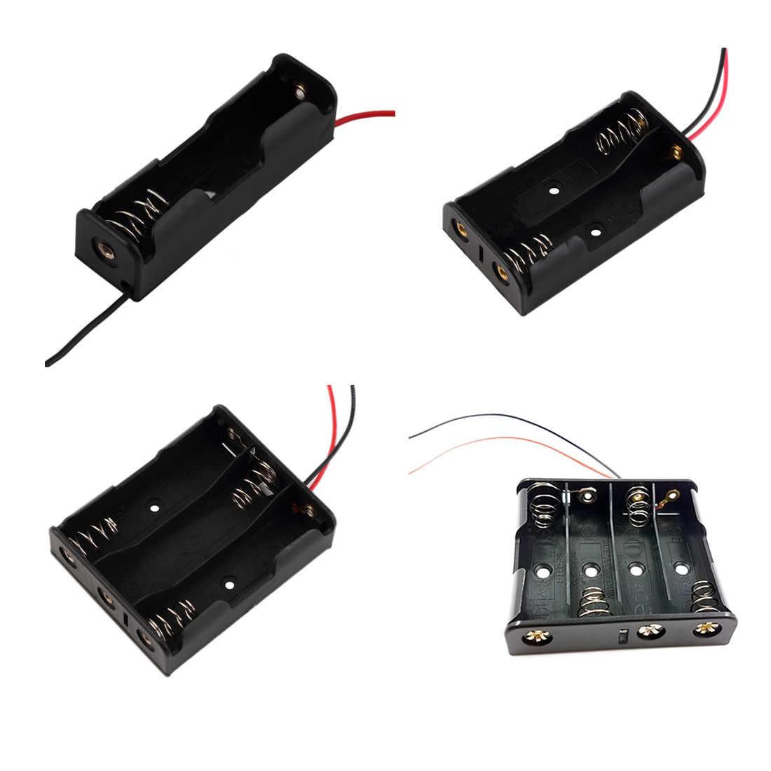 1PC Batterie Halter Batterie Fall Für 1/2/3/4 Pcs AA 1,5 V Trocken Batterie Lagerung Box Lange Kabel Batterie Clip anschluss Schnalle
