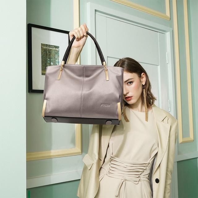 Marca FOXER, Sacolas de luxo, sacolas vintage para mulheres, sacolas de ombro para mulheres, sacolas para mulheres em couro de vaca, sacolas para marcas de moda, bolsa com zíper de grande capacidade para mulheres 2