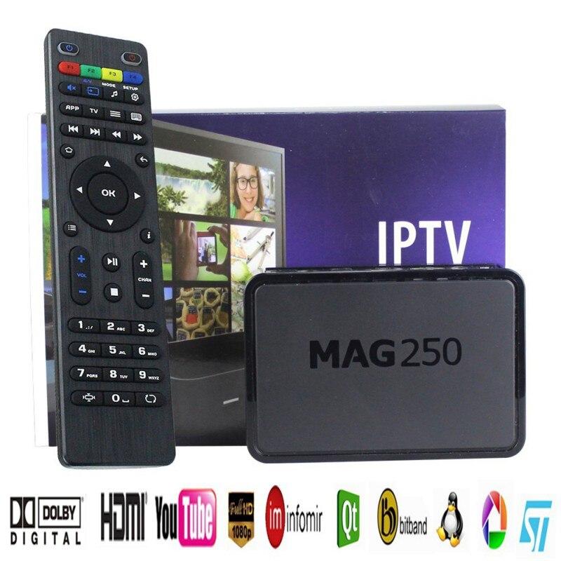 MAG250 décodeur haute définition convertisseur de réseau boîtes de télévision avec câble de chargeur de télécommande