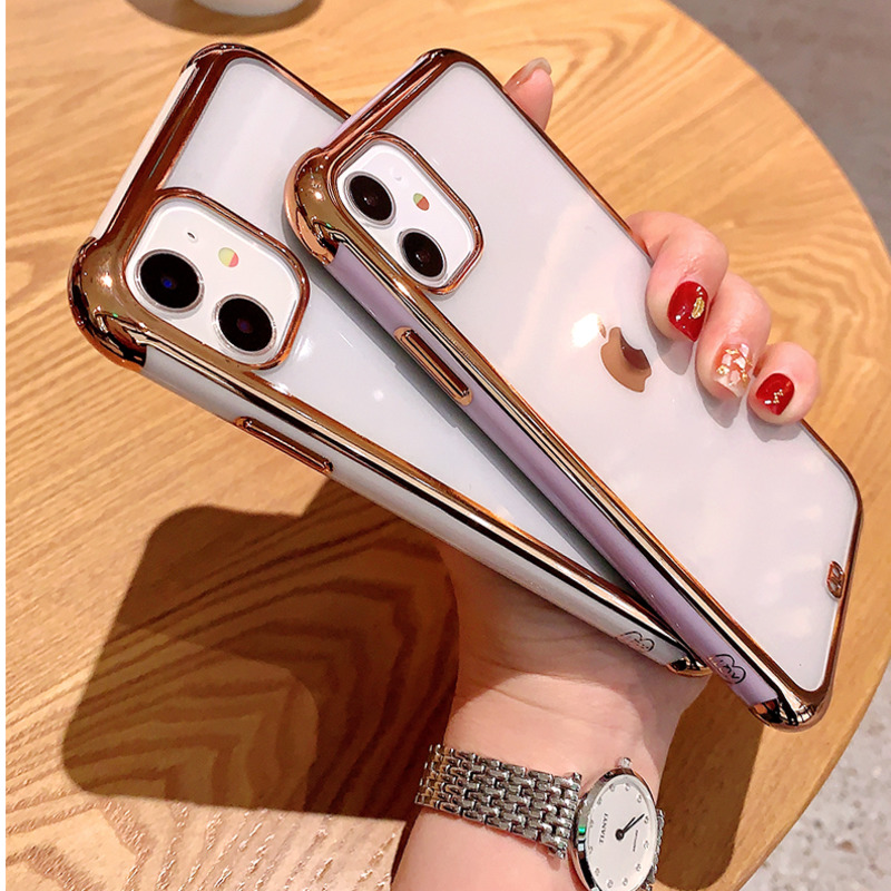 ONEPLANT Transparent Electroplated Phone Case For IPhone 11 Pro Max XR XS X XS Max All-inclusive Phone Cover For IPhone 7 8 Plus(China)