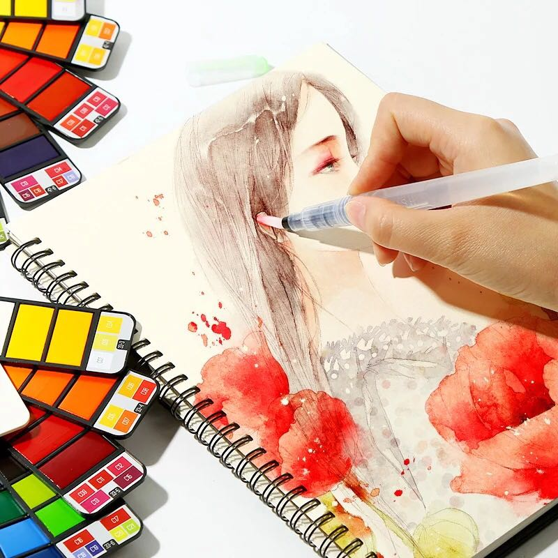 Solid Sketch Watercolor Paint Set 18 Colors Professional Travel w// Brush/&Box