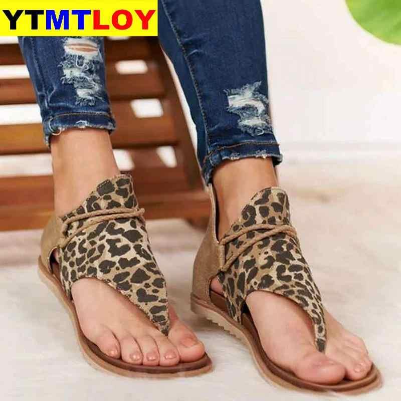 2020 Panas Wanita Sandal Leopard Cetak Musim Panas Sepatu Wanita Ukuran Besar Andals Wanita Flat Sandal Wanita Musim Panas Sepatu Sandal