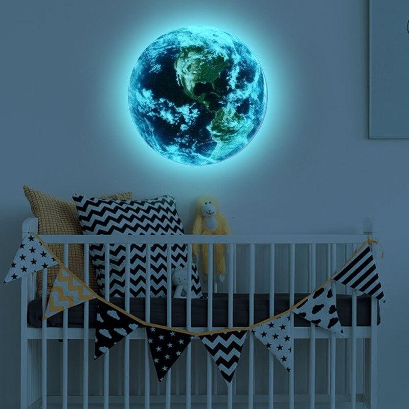 Luminosos adesivos de parede 3D globo lua adesivos luminosos decorativos murais sala de estar decoração do quarto adesivos fluorescentes
