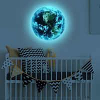Luminous wall stickers 3D moon globe luminous stickers decorative murals living room bedroom decoration fluorescent stickers