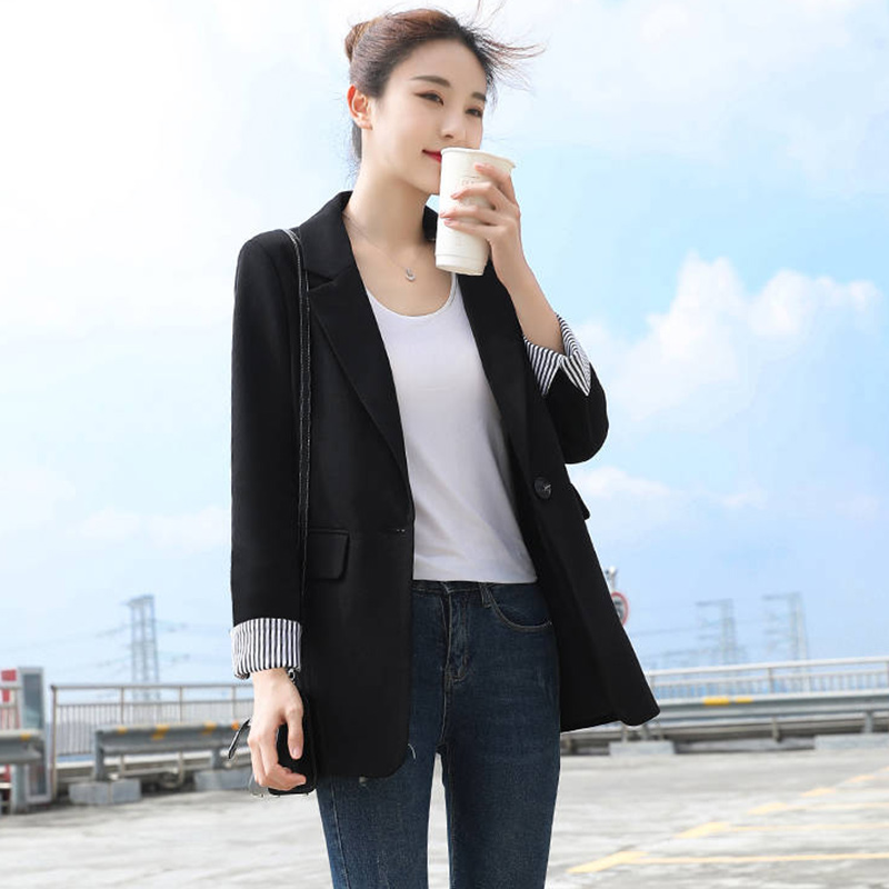 High Quality Women Black Blazers Coats New Arrival 2020 Spring Fashion Korean Style Office Lady Elegant Suits Jackets P258