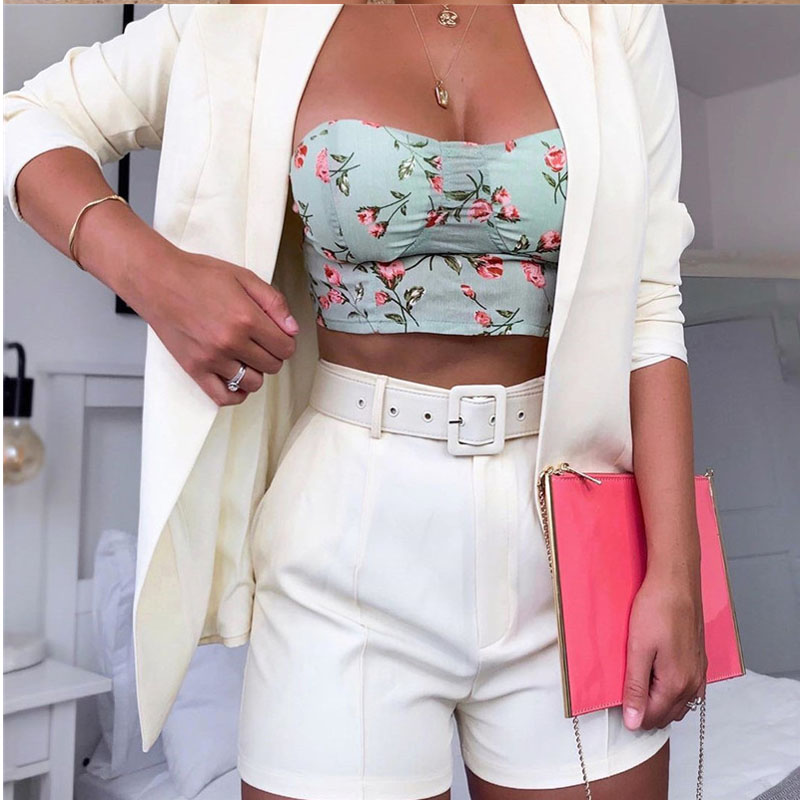 3 Pcs Set Women's Suit Elegant Notched Jacket Blazer Casual Loose 2020 Autumn New High Waist Hip Short Pants Belt Suit OL Ladies