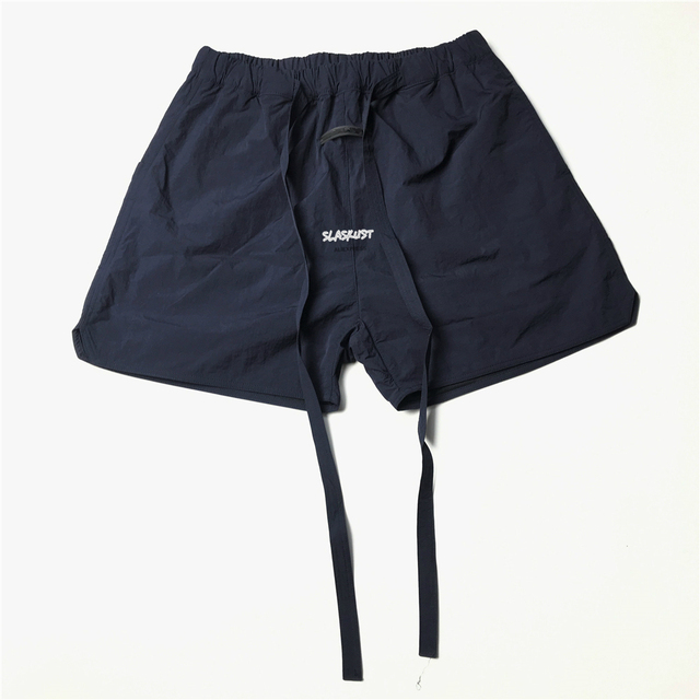 Best Version Blue Iridescent Belted Track Shorts Nylon Sweat Shorts Lined With Faux-suede 4