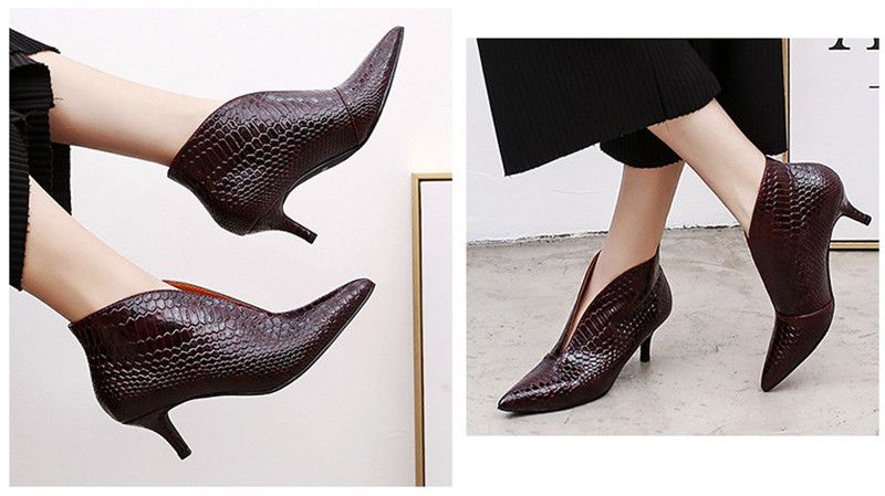 Snake Patent Leather Stilettos Pumps Women Shoes Tip Head V Mouth High Heels Women Shoes 2020 Spring Small Thin Heel Lady Pumps (5)