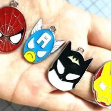 Excellent Quality: Batman Spider-Man 5 Enamel Superheroes Charms Capt America