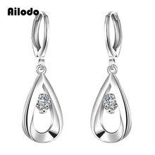 Ailodo Luxury Waterdrop CZ Drop Earrings For Women Fashion Silver Plated Party Wedding Ear Jewelry Romantic Gift Girls LD259