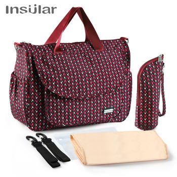 Insular Multifunctional Mother Maternity Baby Diaper Bag Waterproof Mommy Travel Changing Stroller Bags Baby Care Nappy Tote Bag insular brand floral pattern mommy maternity bag waterproof nylon large capacity baby care nappy bag mother tote nursing bag