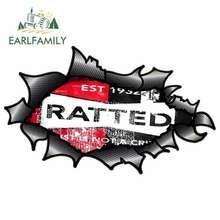 EARLFAMILY 13cm x 7,9 cm Zerrissenes Heftiges Carbon Fibre Fiber Design mit Distressed Ratted Ratte Look Motiv Externe Vinyl auto Aufkleber