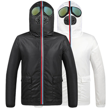 New Jacket Men Protective Coverall Thermal Jacket Men Fancy Hooded with Glasses youth Man Jackets Outwear veste homme hiver