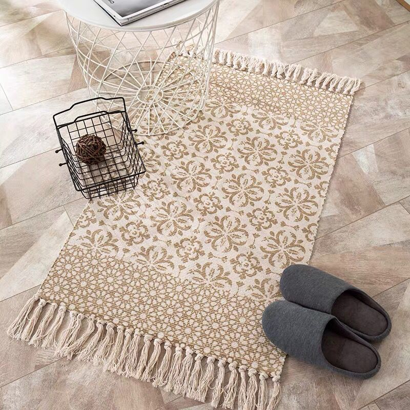 Ins Style Bohemian Cotton Linen Hand Woven Rugs Geometric Floor Mat Bedroom Living Room Carpet With Tassels Home Decorative