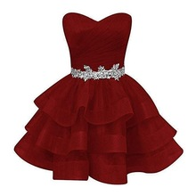 Dresses Gowns Short Cocktail-Dress Graduation Organza Plus Fashion Sweetheart Crystal