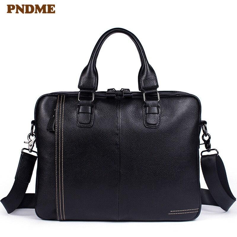 PNDME Casual Genuine Leather Men Black Briefcase Laptop Handbag Business Simple Soft Natural Cowhide Handmade Work Shoulder Bag