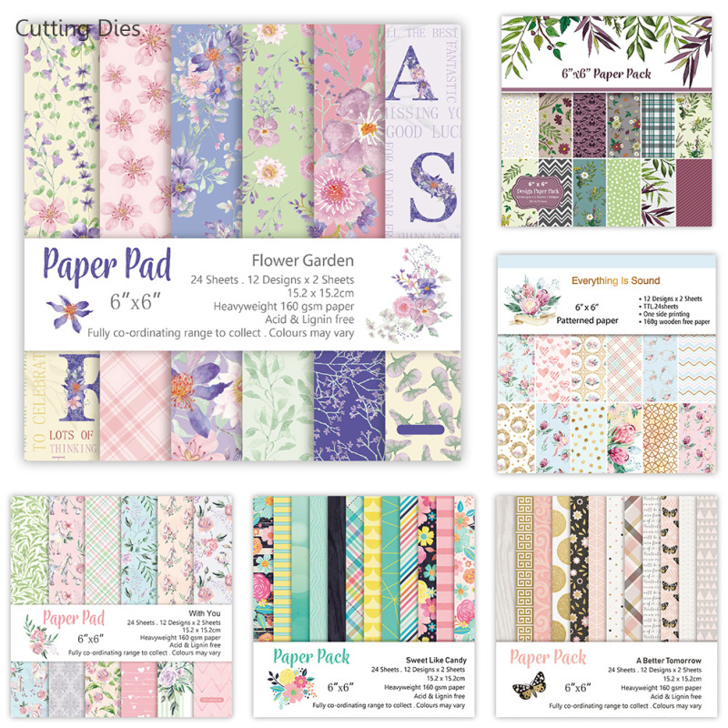Crafts Scrapbooking Paper-Decorations Background-Paper Flower-Pattern 12-Sheets New Art title=