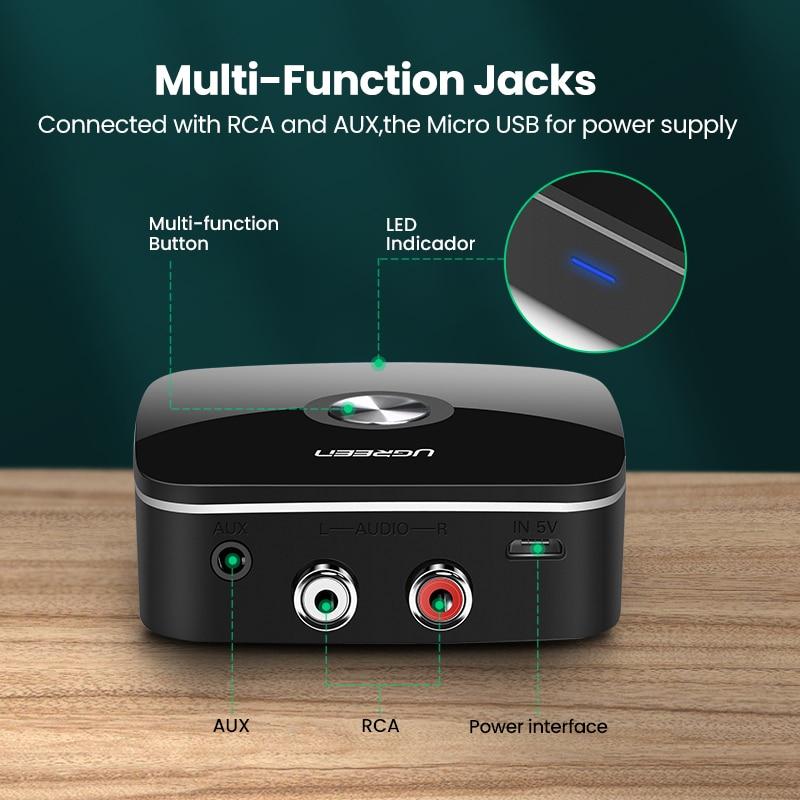 Ugreen Bluetooth RCA מתאם בלוטות' איכותי ונוח להשמעת מוזיקה ללא צורך בכבלים 5