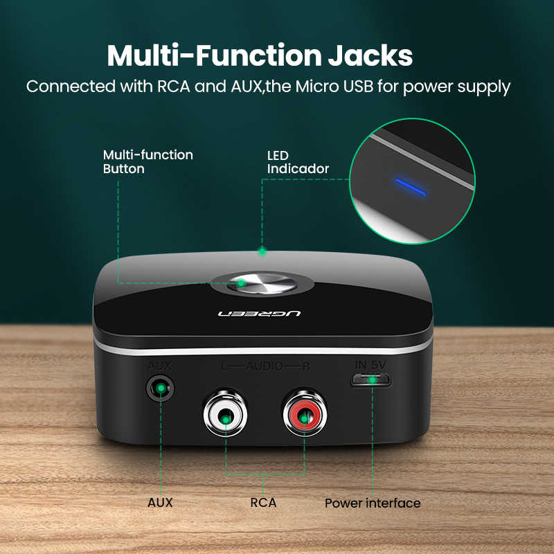 Ugreen odbiornik Bluetooth RCA 5.0 aptX LL 3.5mm Jack Aux Adapter bezprzewodowy muzyka do telewizora samochód RCA Bluetooth 5.0 3.5 odbiornik Audio