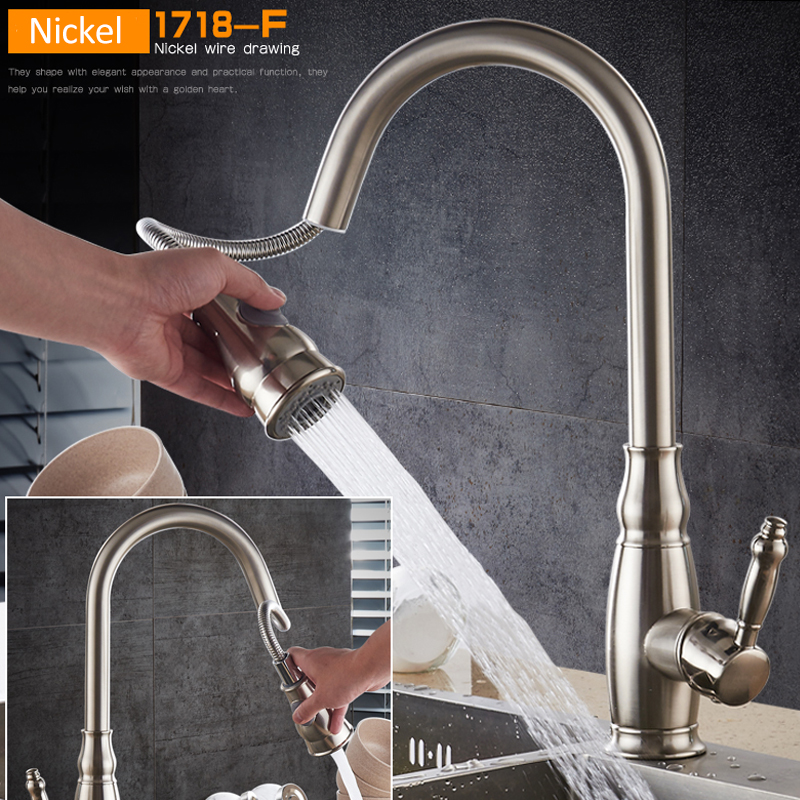 Vidric Brushed Nickel Pull Out Kitchen Faucet 2-way Sprayer Single Handle Mixer Tap 360 Rotation Kitchen Sink Torneira Cozinha