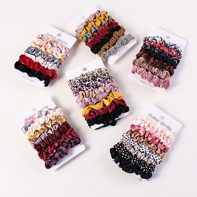3-8Pcs/Set Hair Scrunchies Floral Leopard Print Mini Hair Ring Women  Elastic Hair Bands Rubber Bands Girls Hair Accessories