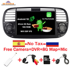 In Stock Android 10.0 Quad Core Car Dvd media Player FOR FIAT 500 Radio GPS DPS WIFI 3G Bluetooth Steering wheel Control