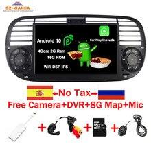 Lecteur multimédia de voiture Quad Core Android 10.0 pour FIAT 500 Radio GPS DSP WIFI 3G Bluetooth commande au volant