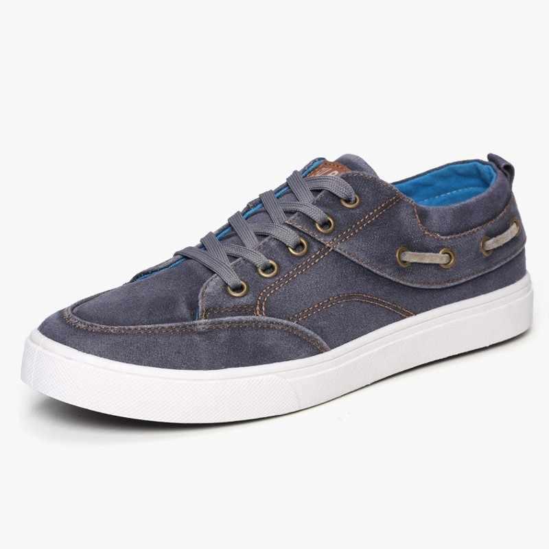 Zapatos de lona de alta calidad para hombre 2020 zapatos casuales de tacón bajo para hombre zapatos de marca Sepatu Pria negros azules