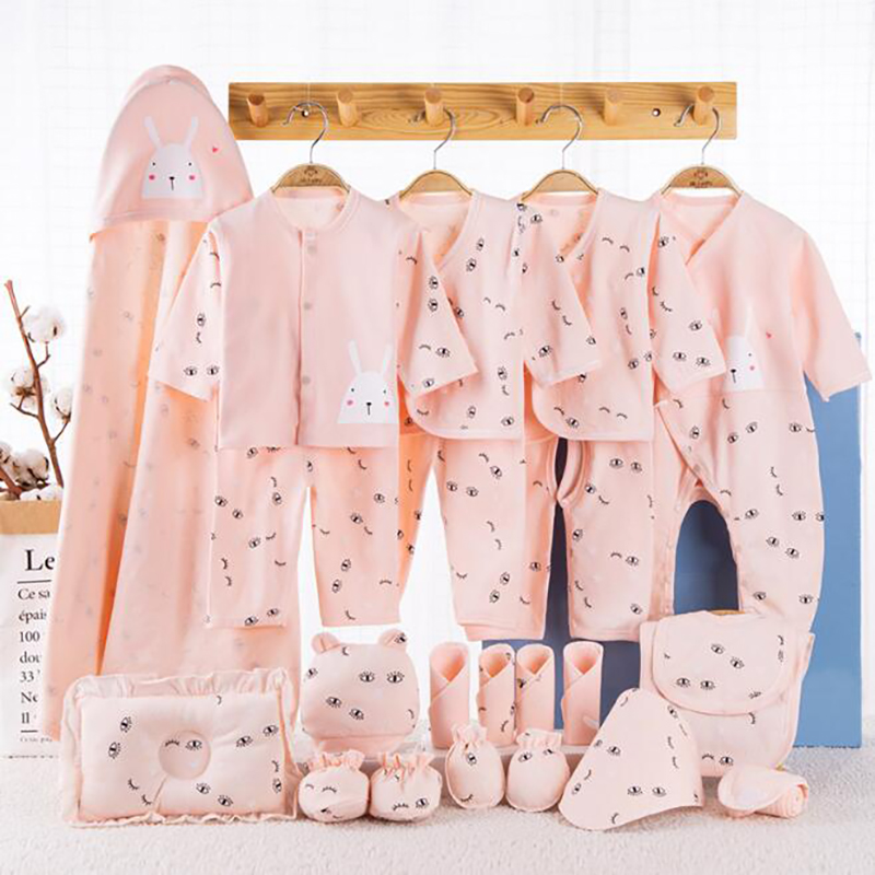 22 Pieces Baby clothing Set Newborn Infant Clothes Shirt Blanket Baby Cotton pants shirt bibs 0-3 Months Outfits