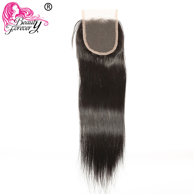 Beauty Forever Brazilian Straight Lace Closure Remy Human Hair Closures 4 4 Free Part Medium Brown