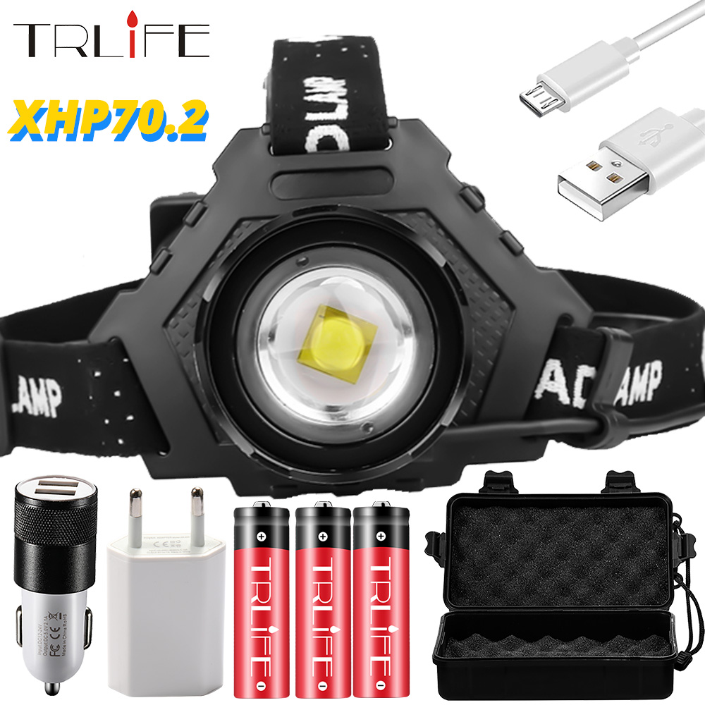NEW 7000LM XHP90 Headlamp USB Rechargeable LED Fishing Headlight XHP50 Bright XHP70 Lanterna Waterproof Power Bank Use 3x18650