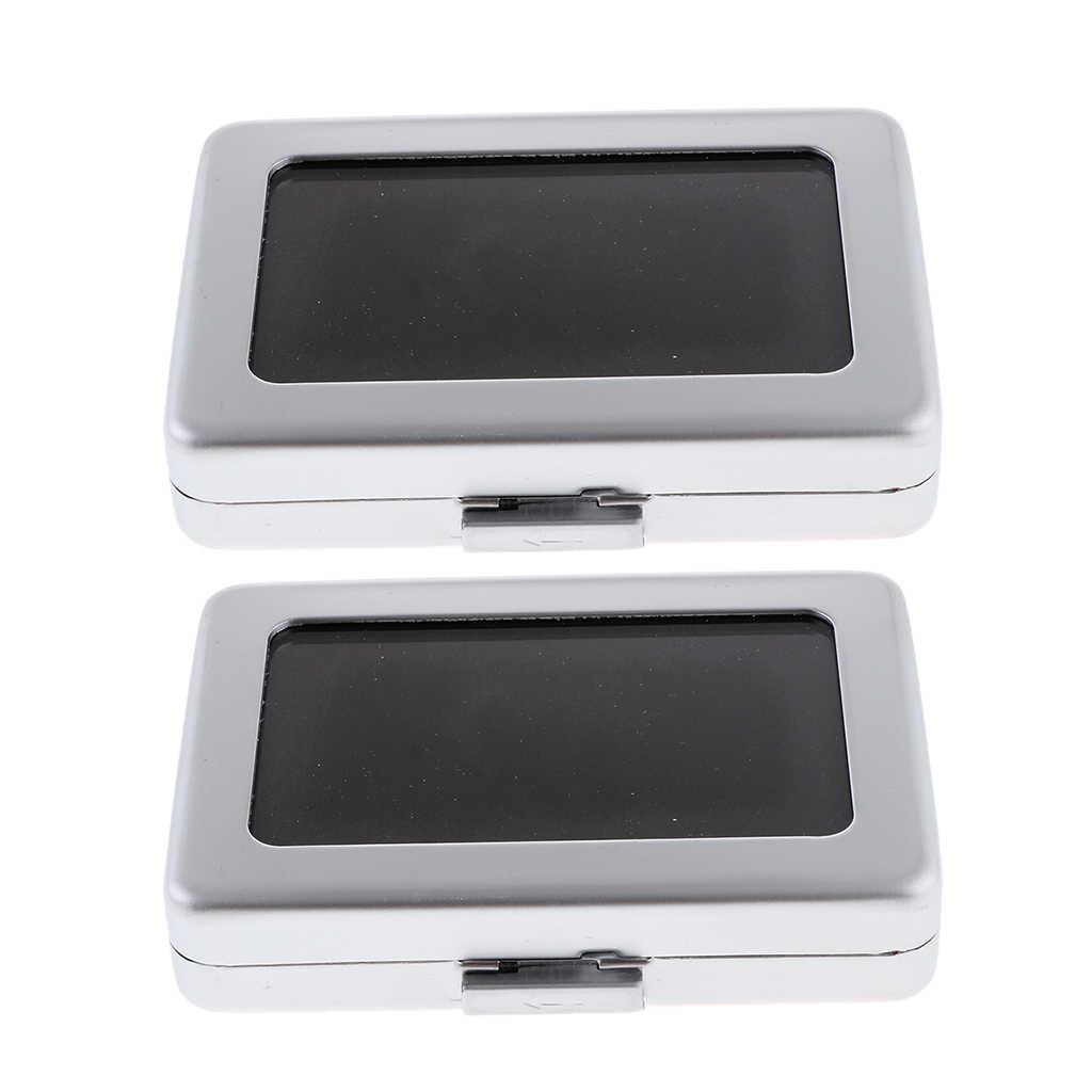 2Pcs Berlian Berharga Permata Gemstone Kotak Penyimpanan, Safety Dual-Wajah Lapisan Beludru Tas Organizer, 8.0X5.8X1.7 Cm