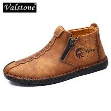 Valstone 2020 nuevos zapatos informales de cuero para hombre de talla grande 38-48 botas vintage para hombre con cremallera apertura media-Top zapatillas de otoño doradas hombres