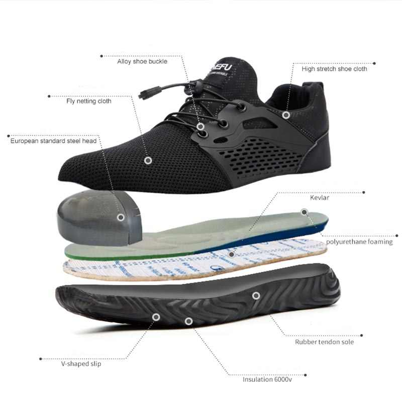 Jackshibo Güvenlik Ayakkabıları Botları Erkekler Erkek Sonbahar Nefes iş ayakkabısı Çelik Ayak Yıkılmaz İş güvenliği botları Sneakers