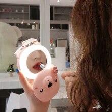 Мультяшный креативный мини зарядный USB портативный маленький вентилятор с светодиодный светильник для макияжа зеркало студенческий женский вентилятор